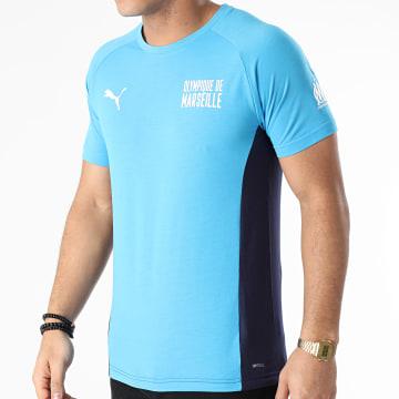 Puma - Tee Shirt De Sport OM Evostripe 758641 Bleu Marine Bleu Clair