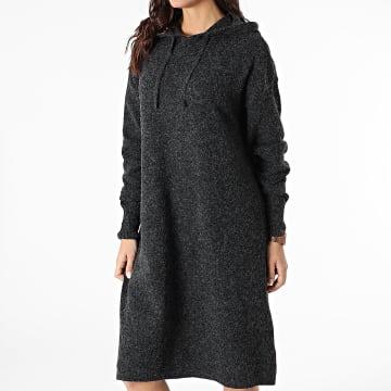 Vero Moda - Robe Pull Femme A Capuche Doffy Noir Chiné