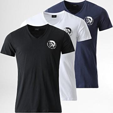 Diesel - Lot De 3 Tee Shirts Col V Michael 00SHGU-0TANL Noir Blanc Bleu Marine