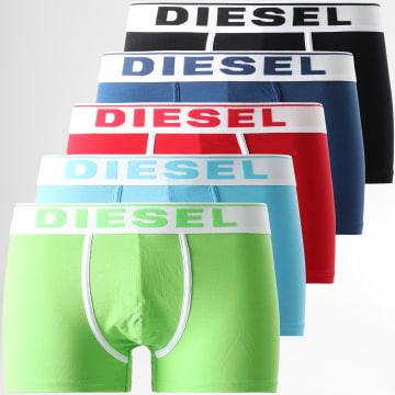 Diesel - Lot De 5 Boxers Damien 00SUAG-0JKKC Rouge Noir Vert Clair Bleu Marine Bleu Clair