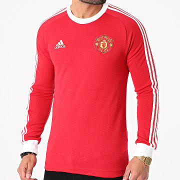 Adidas Performance - Tee Shirt Manches Longues A Bandes Manchester United Icons FR3853 Rouge Blanc