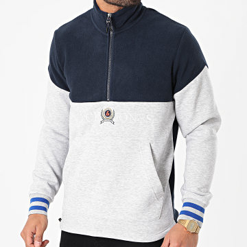 Jack And Jones - Sweat Col Zippé Chester Bleu Marine Gris Chiné