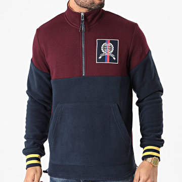 Jack And Jones - Sweat Col Zippé Chester Bleu Marine Bordeaux