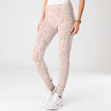 Noisy May - Legging Femme Kerry Anilla Blanc Marron Leopard