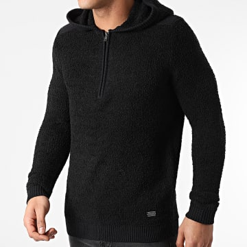 Only And Sons - Sweat Capuche Col Zippé Raphael Fluffy Noir
