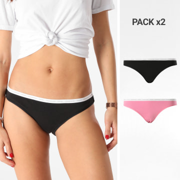 Calvin Klein - Lot De 2 Culottes Femme Bikini 3789E Noir Rose
