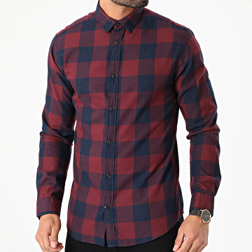 Jack And Jones - Chemise Manches Longues Gingham Carreaux Bordeaux