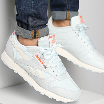 Reebok - Baskets Classic Leather FY7545 Chalk Blue Classic White Orange Flare