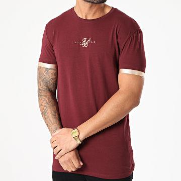 SikSilk - Tee Shirt Inset Cuff Gym SS-17912 Bordeaux Doré