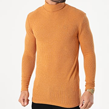 SikSilk - Pull Col Roulé SS-18113 Moutarde Chiné
