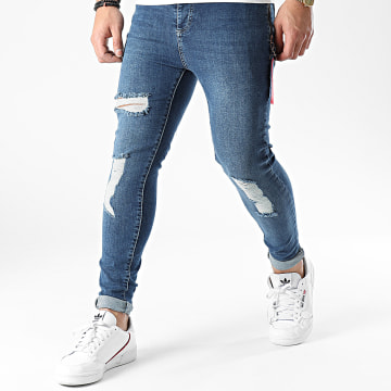 SikSilk - Jean Skinny Distressed Flight Denims SS-18015 Bleu Denim