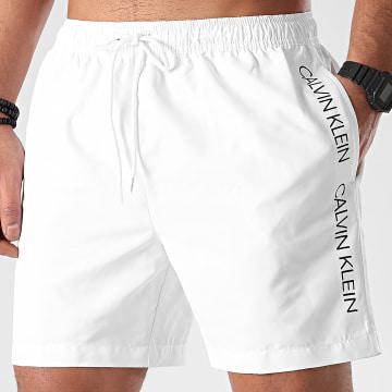 Calvin Klein - Short De Bain A Bandes Medium Drawstring 0294 Blanc