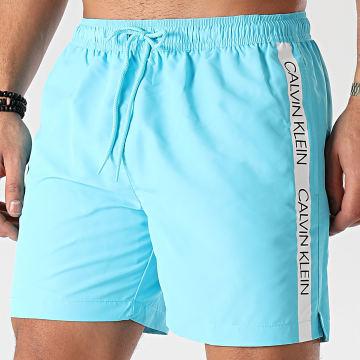 Calvin Klein - Short De Bain A Bandes Medium Drawstring 0294 Bleu Ciel