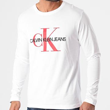 Calvin Klein - Tee Shirt Manches Longues Monogram 9224 Blanc