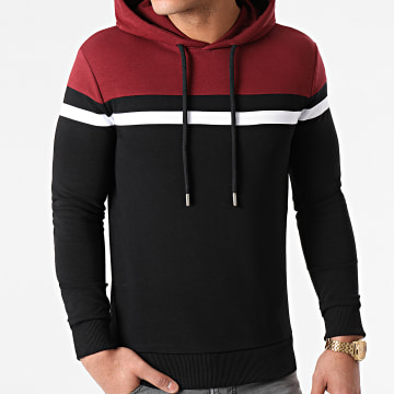 LBO - Sweat Capuche Tricolore 1432 Bordeaux Noir