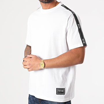 Versace Jeans Couture - Tee Shirt A Bande Tape Logo Blanc
