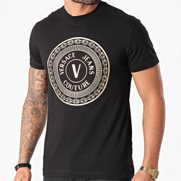 Versace Jeans Couture - Tee Shirt Emblème V Noir Doré
