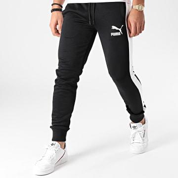 Puma - Pantalon Jogging A Bandes Iconic T7 530098 Noir Blanc