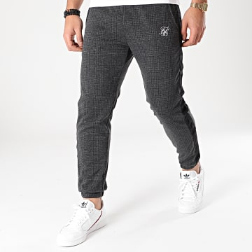 SikSilk - Pantalon Carreaux A Bandes Tonal Check Cuffed SS-17886 Gris Anthracite Chiné