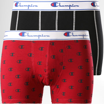 Champion - Lot De 2 Boxers Y081W Noir Bordeaux