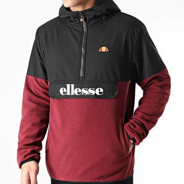 Ellesse - Sweat Col Zippé Capuche SHH09756 Bordeaux Noir