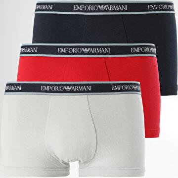 Emporio Armani - Lot De 3 Boxers 111357-1P717 Rouge Gris Bleu Marine