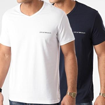 Emporio Armani - Lot De 2 Tee Shirts Col V 111849-1P717 Blanc Bleu Marine