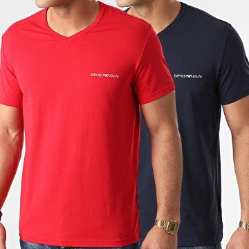 Emporio Armani - Lot De 2 Tee Shirts Col V 111849-1P717 Rouge Bleu Marine