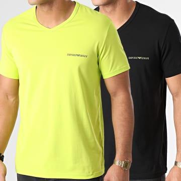 Emporio Armani - Lot De 2 Tee Shirts Col V 111849-1P717 Noir Jaune Fluo