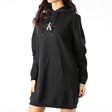 Calvin Klein - Robe Sweat Capuche Femme Monogram 7232 Noir