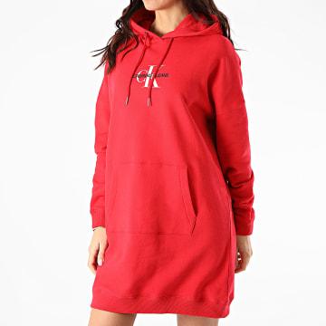 Calvin Klein - Robe Sweat Capuche Femme Monogram 7232 Rouge
