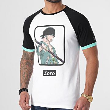 One Piece - Tee Shirt Raglan Zoro Front Blanc Noir