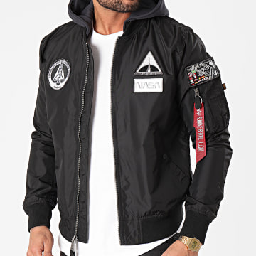 Alpha Industries - Bomber Capuche MA-1 TT NASA 126107 Noir