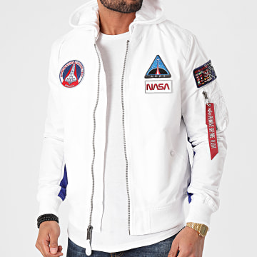 Alpha Industries - Bomber Capuche MA-1 TT NASA 126107 Blanc