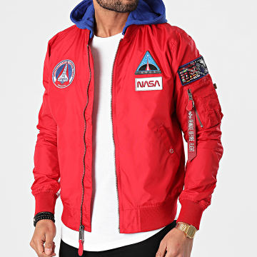 Alpha Industries - Bomber Capuche MA-1 TT NASA 126107 Rouge