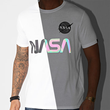 Alpha Industries - Tee Shirt NASA Rainbow Reflective 178501RR Blanc Iridescent