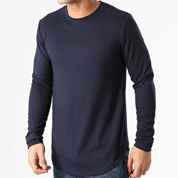 Frilivin - Tee Shirt Manches Longues Oversize 15125-3 Bleu Marine