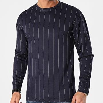 Frilivin - Tee Shirt Manches Longues Oversize A Rayures 15108 Bleu Marine