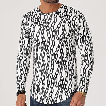 Frilivin - Tee Shirt Manches Longues Oversize U2442 Blanc Noir