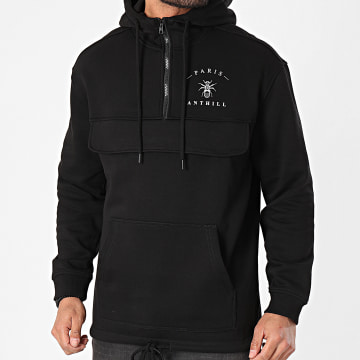 Anthill - Sweat Outdoor Col Zippé Back Logo Noir