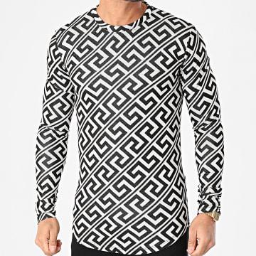 Frilivin - Tee Shirt Manches Longues Oversize 5552 Blanc Noir