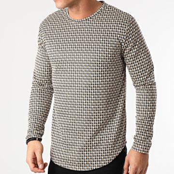 Frilivin - Tee Shirt Manches Longues Oversize 15122 Blanc Beige Noir