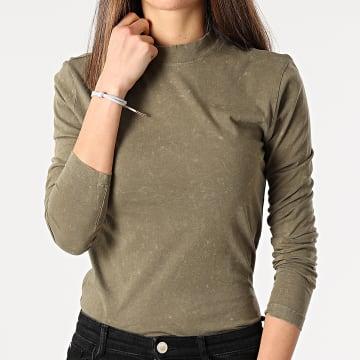 Only - Tee Shirt Femme Manches Longues Lucilla Vert Kaki