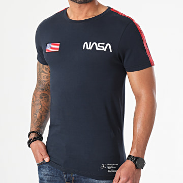 Final Club - Tee Shirt NASA USA Edition Avec Bandes Et Broderie 508 Bleu Marine