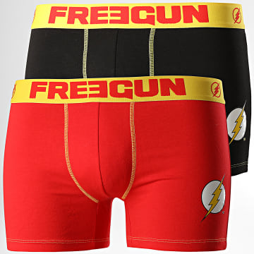 Freegun - Lot De 2 Boxers Flash Noir Rouge