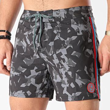 Freegun - Short De Bain A Bandes SW-FG-E-1-FCP Camouflage Gris Anthracite Noir