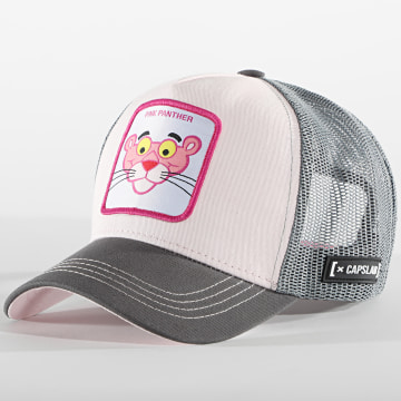 Capslab - Casquette Trucker Pink Panther Gris Rose