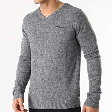 Teddy Smith - Pull Col V Pulser 2 Gris Anthracite Chiné