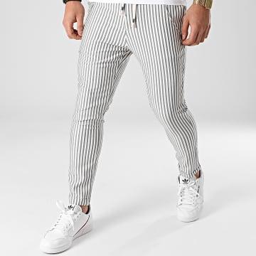 2Y Premium - Pantalon A Rayures 3004 Blanc Gris Anthracite