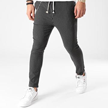2Y Premium - Pantalon A Rayures 3004 Noir Gris Anthracite